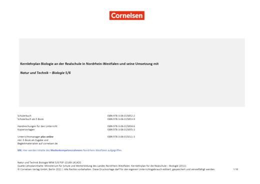 Natur und Technik - Biologie Neubearbeitung - Synopse für die Realschule in Nordrhein-Westfalen - 5./6. Schuljahr