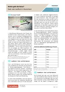 Wohin geht die Reise? Stadt- oder Landflucht in Deutschland - Arbeitsblatt mit Lösungen