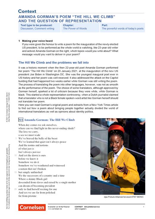 """Context - Amanda Gorman's poem """"The Hill We Climb"""" and the question of representation - Kopiervorlagen mit Materialien, Aufgaben, didaktischen Hinweisen sowie Lösungen"""