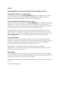 Access - Anleitung - Access English Quiz - Arbeitsblatt - Band 4/5: 8./9. Schuljahr