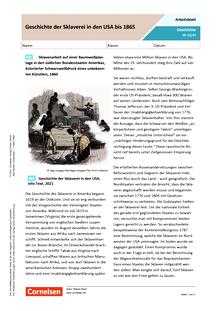 Geschichte der Sklaverei in den USA bis 1865 - Arbeitsblatt mit Lösungen