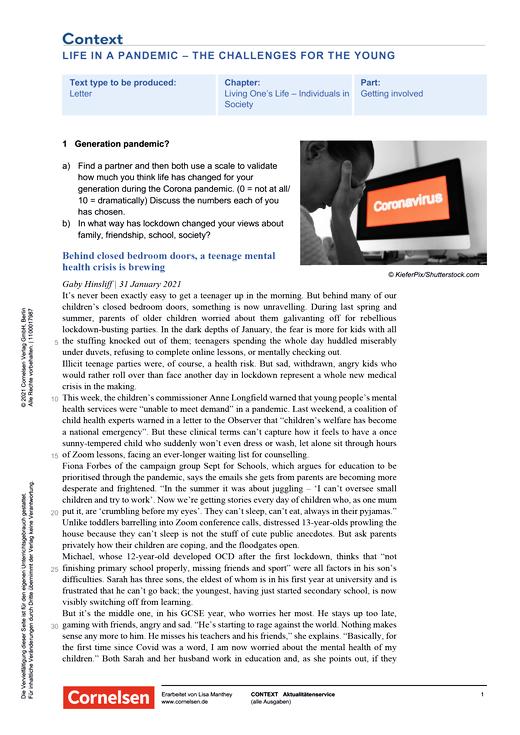 Context - Life in a pandemic – the challenges for the young - Kopiervorlagen mit Materialien, Aufgaben, didaktischen Hinweisen sowie Lösungen