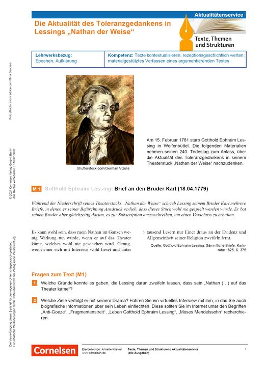 Texte, Themen und Strukturen - Die Aktualität Lessings Toleranzgedankens - Kopiervorlagen mit Materialien, Aufgaben, didaktischen Hinweisen sowie Lösungen