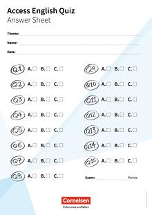 Access - Answer Sheet - Access English Quiz - Arbeitsblatt - Band 4/5: 8./9. Schuljahr