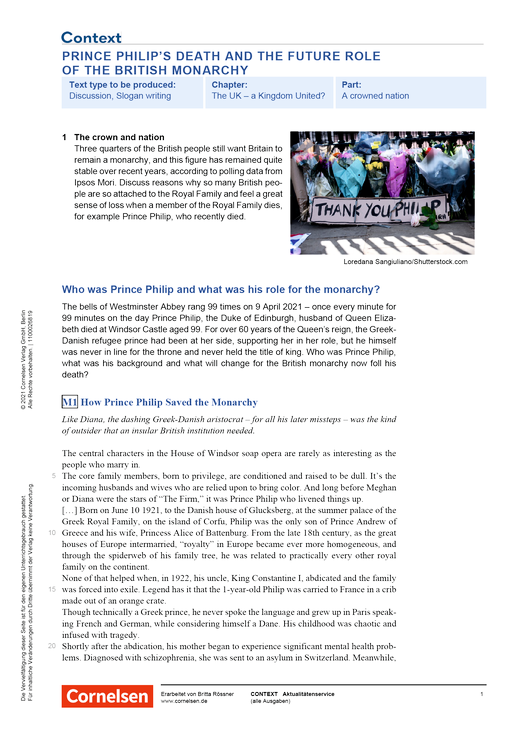 Context - Prince Philip's Death and the Future Role of the British Monarchy - Kopiervorlagen mit Materialien, Aufgaben, didaktischen Hinweisen sowie Lösungen