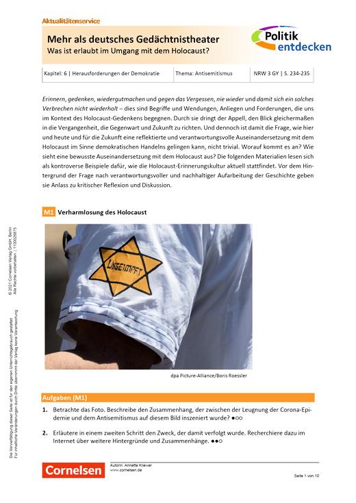 Politik entdecken - Mehr als deutsches Gedächtnistheater - Was ist erlaubt im Umgang mit dem Holocaust? - Kopiervorlagen mit Materialien, Aufgaben, didaktischen Hinweisen sowie Lösungen