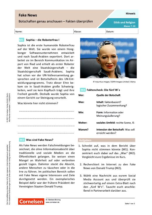 Fake News: Botschaften genau ansehen - Fakten überprüfen - Arbeitsblatt mit Lösungen