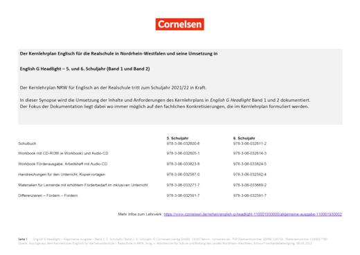 English G Headlight - Synopse Nordrhein-Westfalen zum Kernlehrplan Englisch 2021/22 - Band 1/2: 5./6. Schuljahr