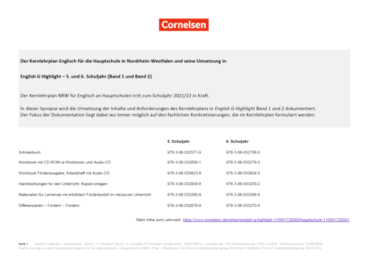 English G Highlight - Synopse Nordrhein-Westfalen zum Kernlehrplan Englisch 2021/22 - Band 1/2: 5./6. Schuljahr