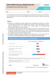 Wenn Mediennutzung zu Mediensucht wird - Die Ergebnisse des Kinderreports 2021 - Arbeitsblatt mit Lösungen