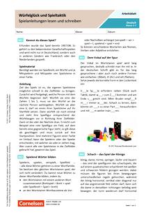 Würfelglück und Spieltaktik - Spielanleitungen lesen und schreiben - Arbeitsblatt mit Lösungen