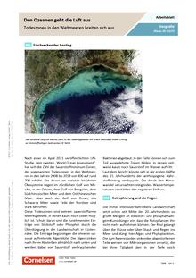 Den Ozeanen geht die Luft aus - Todeszonen in den Weltmeeren breiten sich aus - Arbeitsblatt mit Lösungen