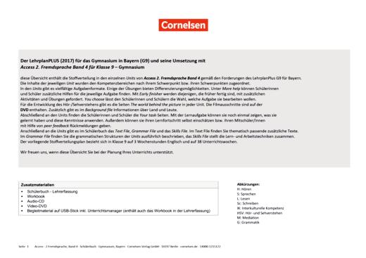 Access - Stoffverteilungsplan für Gymnasium Bayern 9 - Band 4
