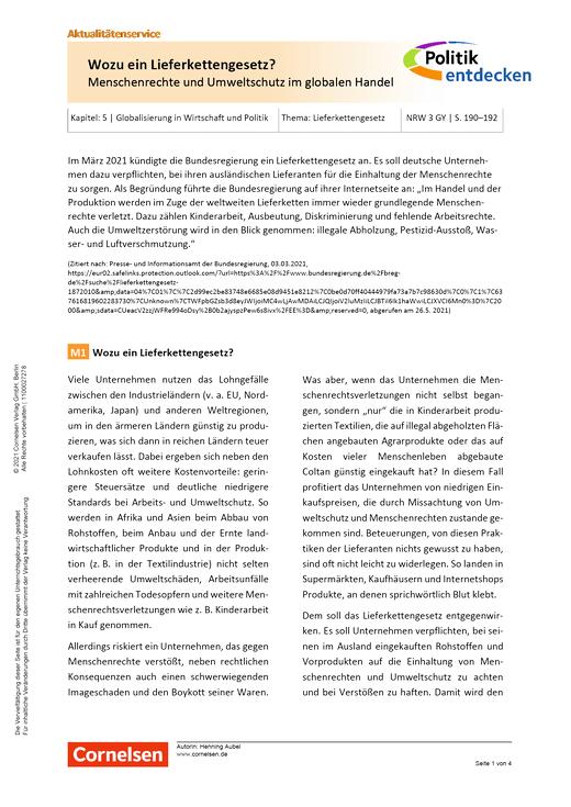 Politik entdecken - Wozu ein Lieferkettengesetz? – Menschenrechte und Umweltschutz im globalen Handel - Arbeitsblatt mit Lösungen