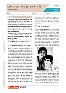 Das Mädchen, das den traurigsten Bestseller schrieb - So lebte Anne Frank - Arbeitsblatt mit Lösungen