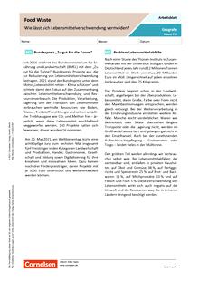 Food Waste - Wie lässt sich Lebensmittelverschwendung vermeiden? - Arbeitsblatt mit Lösungen