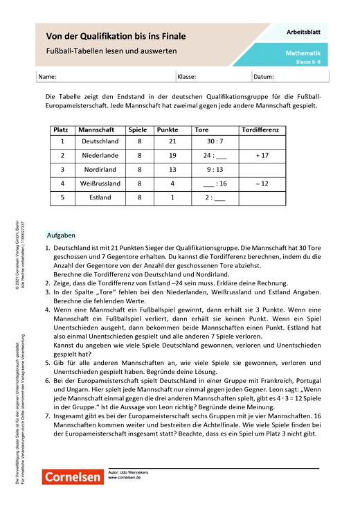 Von der Qualifikation bis ins Finale - Fußball-Tabellen lesen und auswerten - Arbeitsblatt mit Lösungen