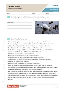 Das Nest im Boot - Sachfachliches Lernen - Arbeitsblatt