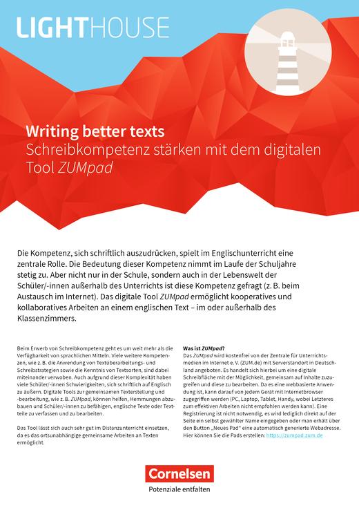 English G Lighthouse / English G Headlight / English G Highlight - Writing better texts - Schreibkompetenz stärken mit dem digitalen Tool ZUMpad - Arbeitsblatt