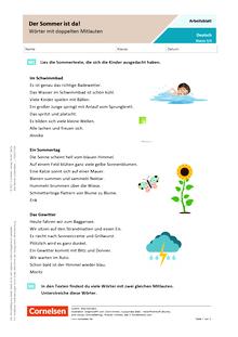 Der Sommer ist da! - Wörter mit doppelten Mitlauten - Arbeitsblatt mit Lösungen