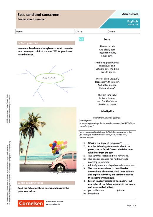Sea, sand and sunscreen - Poems about summer - Arbeitsblatt mit Lösungen