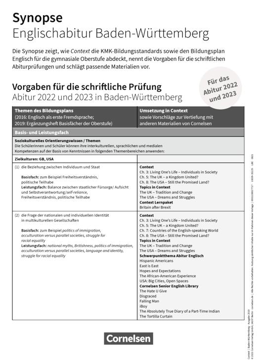 Context - Zentralabitur 2023 - Synopse