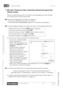 Deutschbuch - Medienkompetenz fördern - Mit dem Thesaurus des Computers abwechslungsreiche Wörter finden - Kopiervorlage/Arbeitsblatt - 5./6. Schuljahr