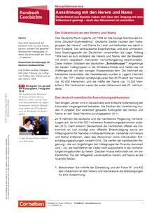 Kursbuch Geschichte - Aussöhnung mit den Herero und Nama - Deutschland und Namibia haben sich über den Umgang mit dem Völkermord geeinigt - Kopiervorlagen mit Materialien, Aufgaben, didaktischen Hinweisen sowie Lösungen