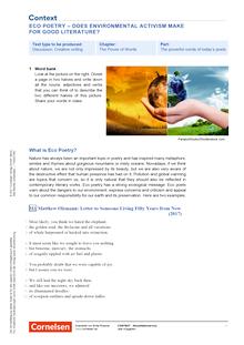 Context - Eco Poetry - Does enviromental activism make for good literature? - Kopiervorlagen mit Materialien, Aufgaben, didaktischen Hinweisen sowie Lösungen