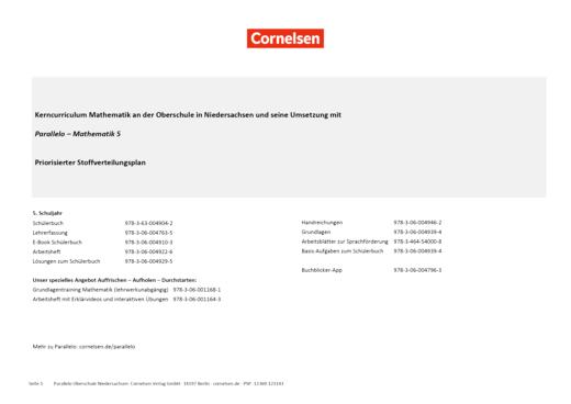 Parallelo - Priorisierter Stoffverteilungsplan für Niedersachsen (Oberschule) - 5. Schuljahr