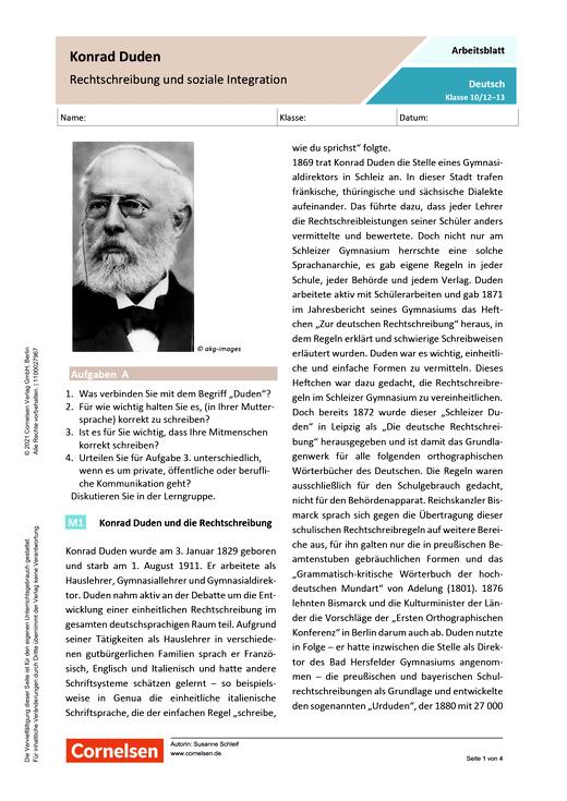 Konrad Duden – Rechtschreibung und soziale Integration - Arbeitsblatt mit Lösungen