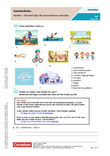 Sommerferien – Perfekt – informell über die Sommerferien schreiben - Arbeitsblatt mit Lösungen