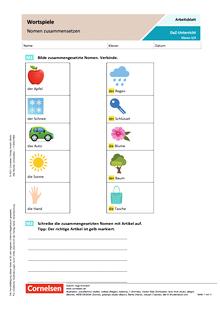 DaZ: Wortspiele – Nomen zusammensetzen - Arbeitsblatt mit Lösungen