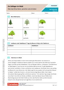 DaZ: Ein Zeltlager im Wald – Über das Klima hören, sprechen und schreiben - Arbeitsblatt mit Lösungen