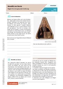 Benedikt von Nursia - Regeln für eine gesunde Ernährung - Arbeitsblatt mit Lösungen