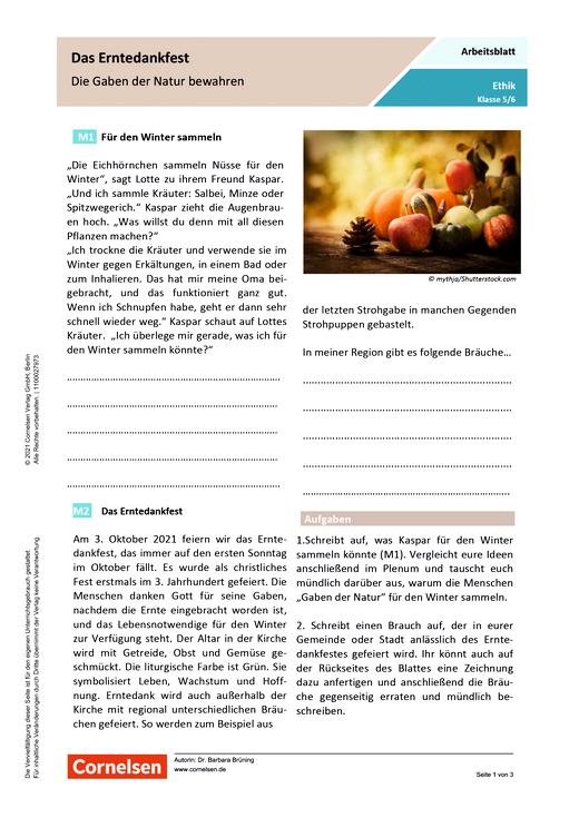 Das Erntedankfest - Die Gaben der Natur bewahren - Arbeitsblatt mit Lösungen