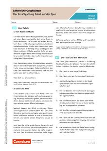 Lehrreiche Geschichten - Der Erzählgattung Fabel auf der Spur - Arbeitsblatt mit Lösungen