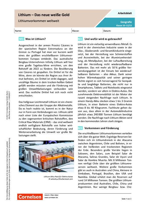 Lithium - Das neue weiße Gold - Lithiumvorkommen weltweit - Arbeitsblatt mit Lösungen