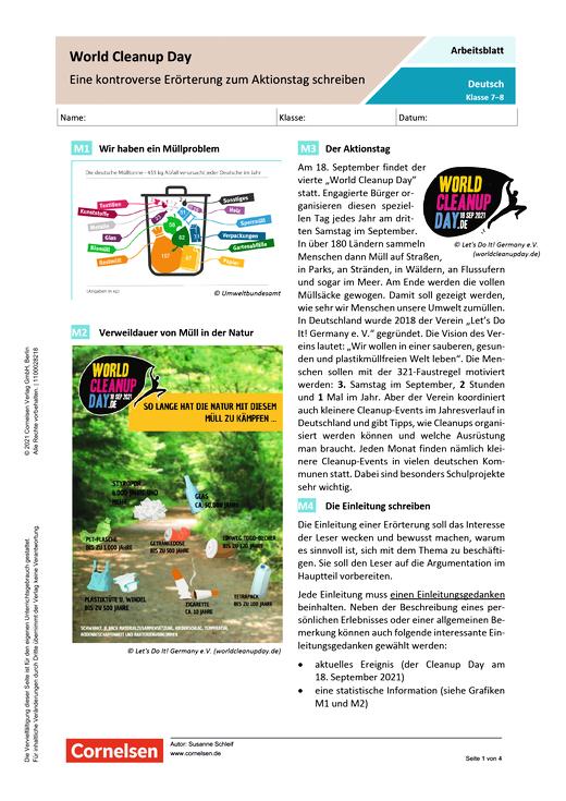 World Cleanup Day - Eine kontroverse Eröterung zum Aktionstag schreiben - Arbeitsblatt mit Lösungen