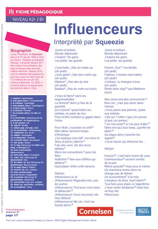 FrancoMusiques - Squeezie - Influenceurs - Arbeitsblatt - A2+/B1