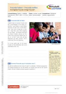 Wirtschaft und Politik - Freunde haben - Freunde treffen - Sind digitale Freunde richtige Freunde? - Kopiervorlagen mit Materialien, Aufgaben sowie didaktischen Hinweisen und Lösung - 5./6. Schuljahr