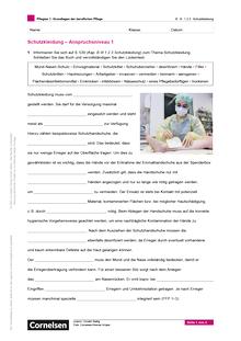 Pflegias - Grundlagen der beruflichen Pflege: Schutzkleidung Anspruchsniveau 1 Lückentext - Arbeitsblatt - Band 1