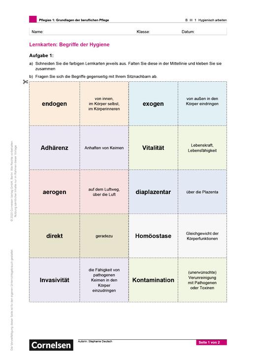 Pflegias - Lernkarten Begriffe der Hygiene - Arbeitsblatt - Band 1