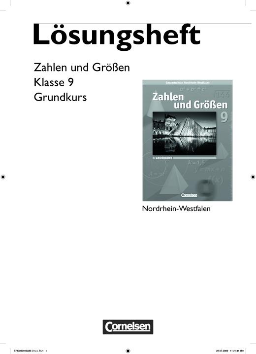 Zahlen und Größen - Lösungen zum Schülerbuch - 9. Schuljahr - Grundkurs