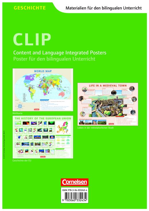 Materialien für den bilingualen Unterricht - World Map / History of the European Union / Life in a Medieval Town - Posterpack - Ab 7. Schuljahr