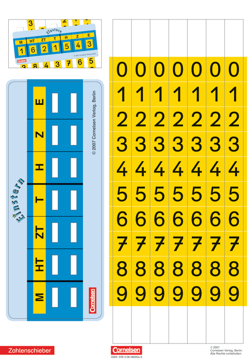 Einstern - Zahlenschieber - Kartonbeilagen - Band 4