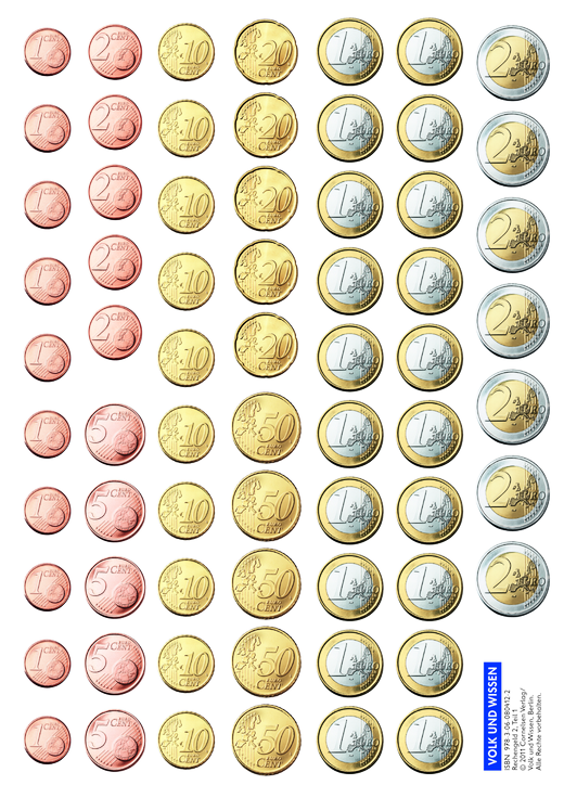 Mathefreunde - Rechengeld - Kartonbeilagen - 3. Schuljahr