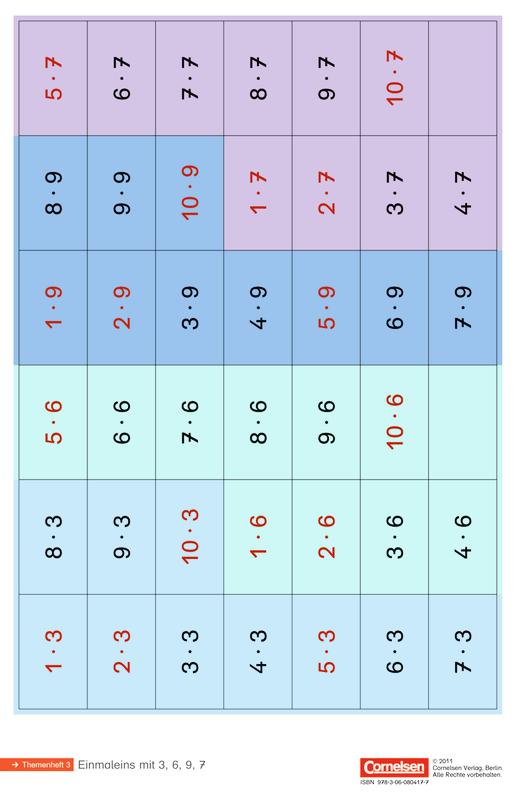 Einstern - Einmaleins mit 3, 6, 9, 7 - Kartonbeilagen - Band 2