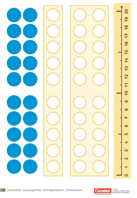 Einstern - Zehnerfeld, Zwanzigerfeld, Wendeplättchen, Zahlenstrahl - Kartonbeilagen - Band 1