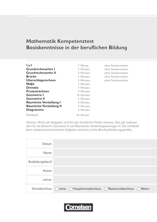Mathematik - Grundwissen für den Beruf - Kompetenztest - Basiskenntnisse in der beruflichen Bildung - Testheft